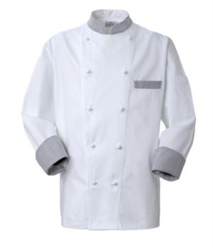 Chef jacket, front closure with double-breasted buttons, left side pocket, 3/4 length sleeve, colour white galles