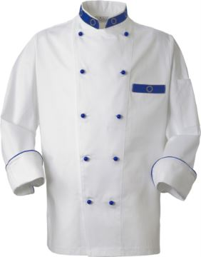 Chef jacket, front closure with double-breasted buttons, left side pocket, three-quarter length sleeve, color white