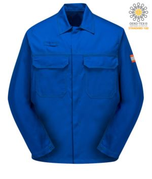 Acidproof jacket, concealed button closure, two chest pockets, certified EN 13034, royal blue colour