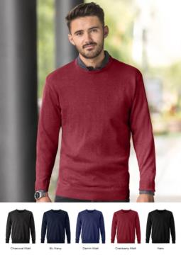 Men crew neck pullover, long sleeves, ribs on the lower edges and cuffs, cotton and acrylic fabric