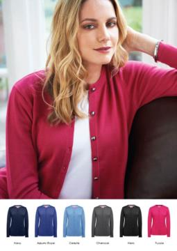 Women crew-neck cardigan, ribs, hem and cuffs, central buttoning, cotton and acrylic fabric