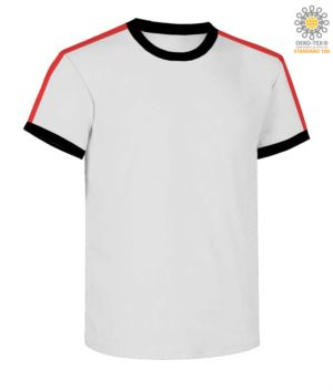 Round neck work T-shirt, collar and sleeve bottom in contrasting and stripes of color on the shoulders, color white