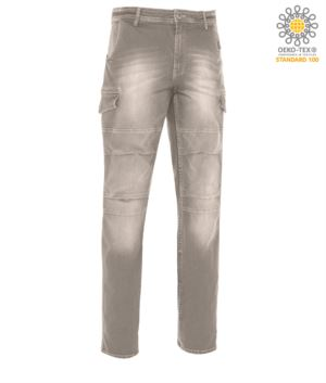 Work trousers in multi-pocket stretch jeans, color grey