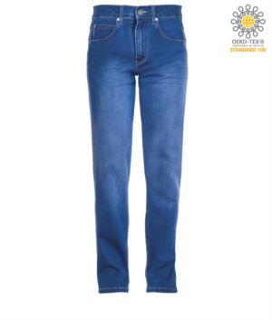 Elastic work trousers in jeans, multi-pocket, light blue colour