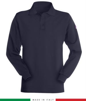 Long-sleeved, fireproof and antistatic polo shirt, Made in Italy, two-button closure, certified EN 1149-5, EN 11612:2009, EN 13688:2013, blue color