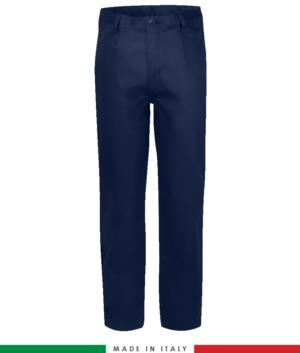 Two-tone multipro trousers, multi-pocket, coloured profile on the pockets, Made in Italy, certified EN 11611, EN 1149-5, EN 13034, CEI EN 61482-1-2:2008, EN 11612:2009, color navy blue