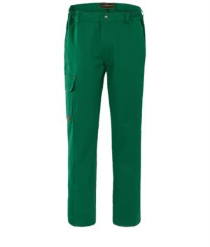 Fireproof trousers, button fly, two front pockets and one back pocket, green colour. EN 11611, EN 11612:2009 certified