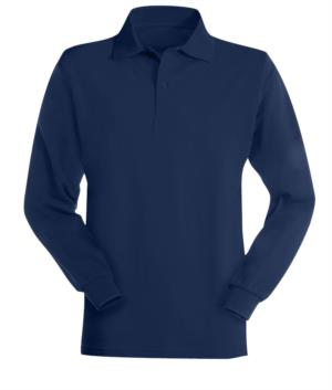 Long-sleeved, flame-retardant and antistatic polo shirt, collar with 3 buttons and elasticated cuffs, navy blue colour, certified to EN 1149-5, EN 11612:2009