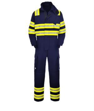 Fireproof coverall, double reflective band shoulders, elbows and bottom leg, two side pockets, navy blue color. EN 1149-5, EN 11612:2009, EN 15614 certified