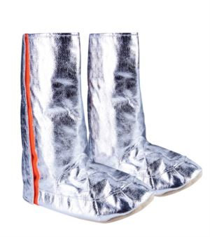Approach boots, para-aramid soles, side openings with velcro, silver colour, certified EN 1486