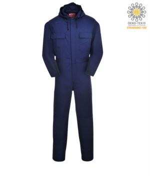Fireproof coverall with hood, back pocket, tape measure pocket, radio ring, button fly, navy blue colour. CE certified, NFPA 2112, EN 11611, EN 11612:2009, ASTM F1959-F1959M-12