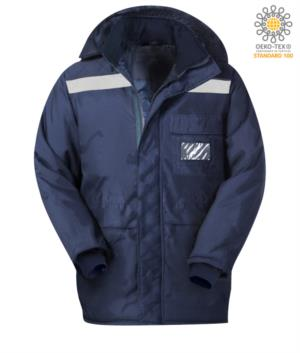 Freezer jacket, double verso zip, long and narrow cuffs, reflective tape jacket, chest pocket, blue color. CE certified, EN 342:2004
