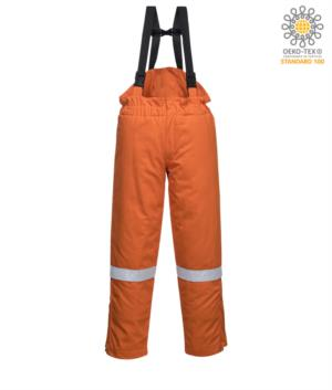 Winter bib and dungarees, anti-static and flame retardant, adjustable waist, zip opening hidden in the leg, reflective band on the leg, certified EN 11611, EN 342:2004, EN 1149-5, EN 11612:2009, color orange
