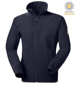 Fire retardant and antistatic short zip fleece with elasticated sleeves and wrist, navy blue colour, certified EN 1149-5, EN 11612:2009