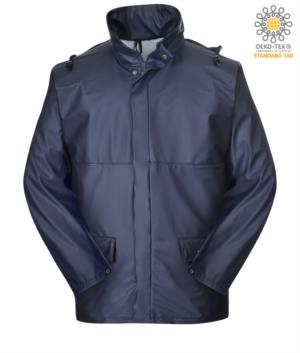 Fireproof anti-acid antistatic jacket, double zip to plastic, adjustable cuffs, waterproof hood, navy blue color. CE certified, EN343:2008, EN 1149-5, EN 13034, UNI EN ISO 14116:2008