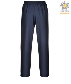 Fireproof, anti-acid and antistatic trousers, adjustable hems with buttons, navy blue colour. CE certified, EN 343:2008, EN 1149-5, EN 13034, UNI EN ISO 14116:2008