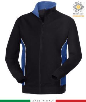 felpa da lavoro zip lunga colore blu navy con fascia azzurro royal made in italy