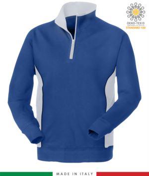 felpa promozionale da lavoro a zip corta colore azzurro con fascia bianca, abbigliamento promozionale Lugano, felpa da lavoro Made in Italy, abiti da lavoro promozionali
