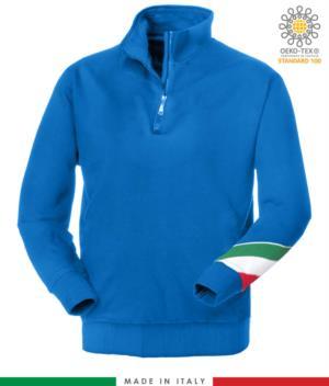 felpa da lavoro a zip corta made in Italy all'ingrosso colore blu royal tricolore