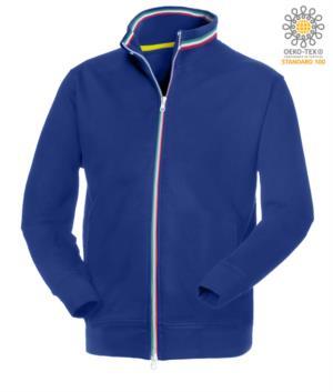 felpa da lavoro da uomo con zip lunga Poliestere e cotone colore blu royal
