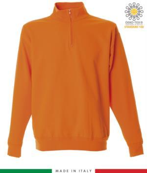 Felpa zip corta, collo a lupetto in costina, polsini e fondo maglia in costina, made in italy, colore arancione