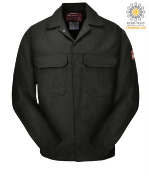 Fireproof jacket, covered button closure, two pockets, cuffs closed with button, navy blue color. CE certified, NFPA 2112, EN 11611, EN 11612:2009, ASTM F1959-F1959M-12