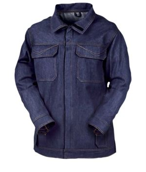 Fireproof jacket, two front and chest pockets, snap opening, rear ventilation system, navy blue. CE certified, EN 11611, EN 11612:2009
