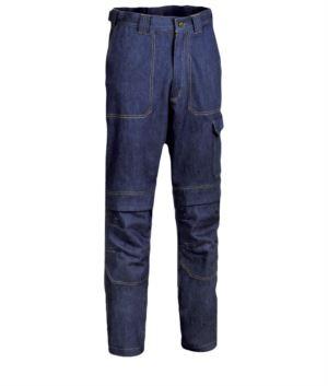 Fireproof trousers, two front and back pockets, meter pocket, blue denim colour. UNI EN ISO 340:2004, EN 11611, EN 11612:2009 certified.