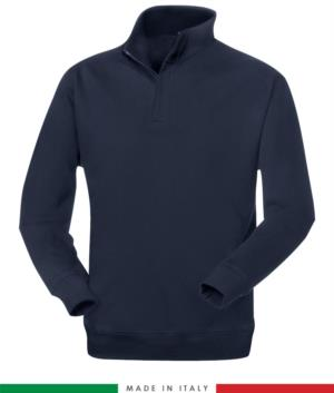 Fire retardant and antistatic short zip fleece with elasticated sleeves and wrist, navy blue colour, certified EN 1149-5, EN 11612:2009