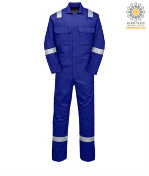 Fireproof coverall, radio ring, button closure, chest pockets, tape measure pocket,royal blue color. CE certified, NFPA 2112, EN 11611, EN 11612:2009, ASTM F1959-F1959M-12