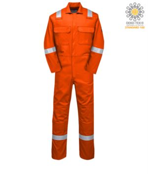 Fireproof coverall, radio ring, button closure, chest pockets, tape measure pocket, orange color. CE certified, NFPA 2112, EN 11611, EN 11612:2009, ASTM F1959-F1959M-12
