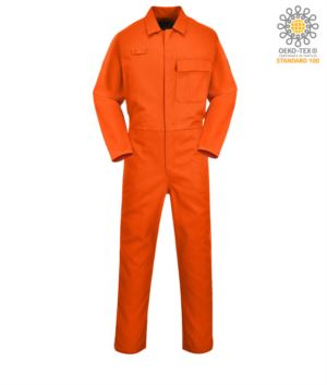 Fireproof coverall, button closure, elasticated waist, side access, tape measure pocket, orange radio ring. CE certified, EN11611, EN11612:2009