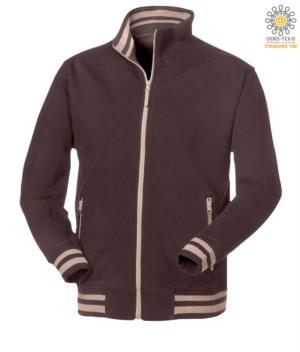 men brown long zip work sweatshirt
