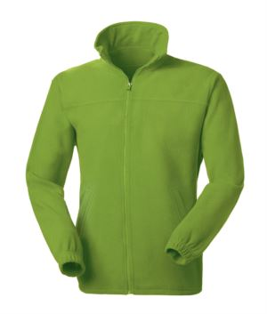 Long zip anti-pilling fleece with two pockets. Colour Apple green