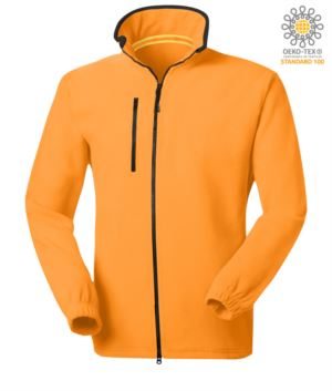 Long zip fleece with chest pocket and two pockets. Double slider zipper. Colour: orange