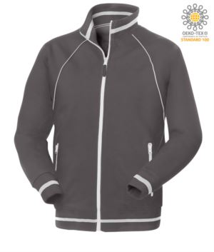 working sweatshirt in cotton and polyester Grey color with anti water treatment