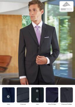 Giacca elegante da uomo, chiusura a 3 bottoni, poliestere e lana, tessuto con trattamento antimacchia. Ideale per uniformi di portierato, hotel, receptionist.