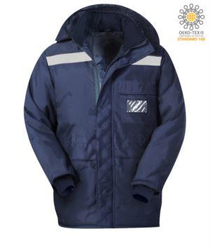 Giacca celle frigo, cerniera doppio verso, polsini lunghi e stretti, giacca nastro riflettente, tasca sul petto, colore blu. Certificato CE, EN 342:2004
