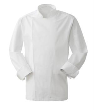 Giacca cuoco uomo, chiusura con bottoni automatici, vestibilità slim fit, colore bianco