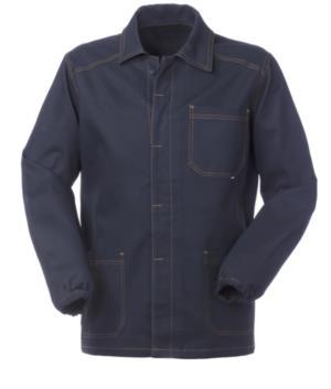 giacca da lavoro colore blu 100% cotone irrestringibile