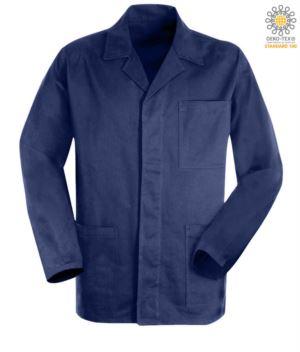 giacca da lavoro di colore blu in cotone massaua sanforizzato e bottoni coperti