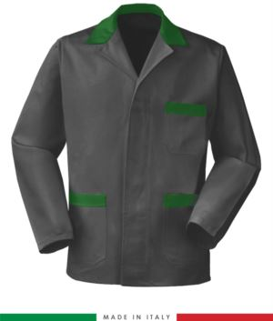 giacca da lavoro grigia con inserti verdi, made in Italy, 100% cotone massaua con due tasche