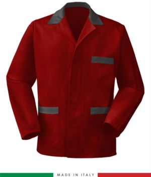 giacca da lavoro rossa con inserti grigi, made in Italy, 100% cotone massaua con due tasche