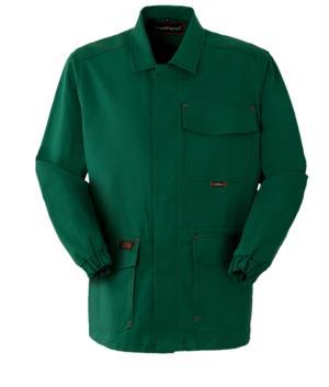 Giacca ignifuga, chiusura bottoni coperti, collo chiuso, due tasche e un taschino, colore verde. Certificato CE, EN 11611, EN 11612: 2009
