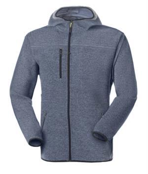 Pile con cappuccio zip lunga in knitted fleece con una tasca al petto e due laterali. Colore: Blu Chiaro
