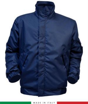 Giaccone antistatico must, chiusura anteriore con cerniera, collo chiuso, maniche con elastico, colore blu navy. Certificato UNI EN ISO 342:2004, EN 1149-5, EN 13034, UNI EN ISO 14116:2008, EN 14058, giaccone ignifugo
