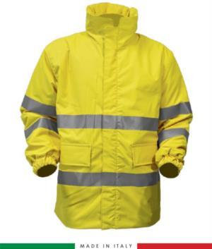 Giaccone ignifugo antiacido antistatico ad alta visibilità, chiusura anteriore con cerniera, maniche con elastico nel fondo, colore giallo. Certificato CE, EN 11612:2009, EN 1149-5, EN 13034, EN 342:2004, EN 11611, EN 471:2008, EN 343:2008