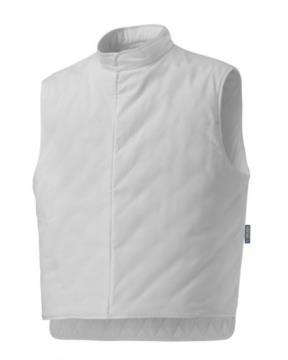 Gilet isotermico, imbottitura in ovatta, trapuntato internamente, colletto alla coreana, chiusura con zip lunga, colore bianco
