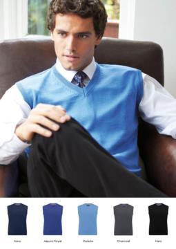 Gilet uomo con scollo a V, senza maniche, tessuto cotone e acrilico. Vendita all'ingrosso di divise eleganti da lavoro.