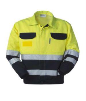 Giubbetto alta visibilità, bicolore con doppia banda al girovita e alle maniche, collo a camicia e due taschini, certificata EN 20471, EN 13688:2013, colore giallo/blu